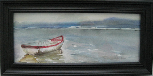"ADRIFTWatercolor on paper 14""W x 7""H framed Original $45"