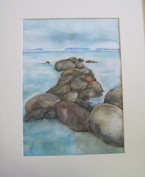 "BREAKWATERWatercolor on paper17""W x 14.5""H FramedOriginalCurrently on display at Painted Finch Gallery, Corry, PA"