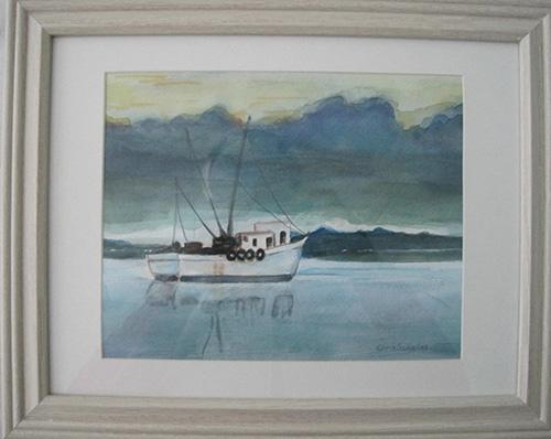 "HEADING HOMEWatercolor on paper15""W x 12""H FramedOriginal $90"
