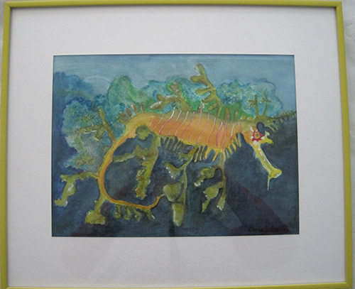 "LEAFY SEA DRAGONWatercolor on paper19""W x 16""H, framed (yellow metal frame, white mat)Original $100"