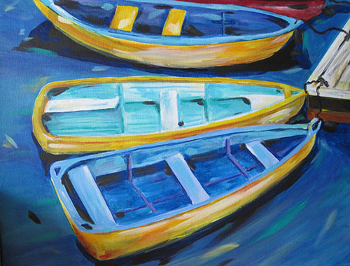 "YELLOW BOATSAcrylic on canvas25""W x 22""H framed (silver plein air)Currently on display at Painted Finch Gallery, Corry, PA"
